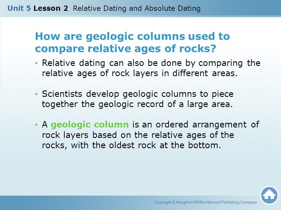 How are geologic columns used to compare relative ages of rocks? Relative dating can also be done by comparing the relative ages of rock layers in dif