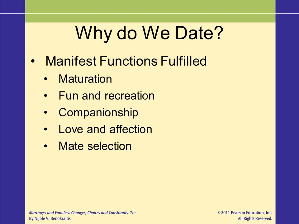 Why do We Date? Manifest Functions Fulfilled Maturation Fun and recreation Companionship Love and affection Mate selection