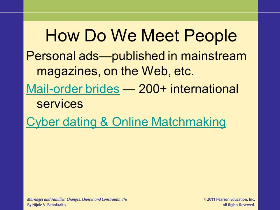 Personal adspublished in mainstream magazines, on the Web, etc. Mail-order bridesMail-order brides 200+ international services Cyber dating & Online M