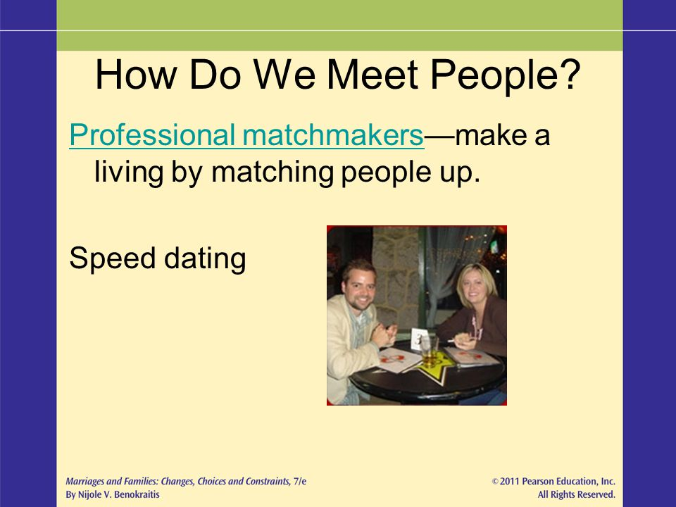 How Do We Meet People? Professional matchmakersProfessional matchmakersmake a living by matching people up. Speed dating