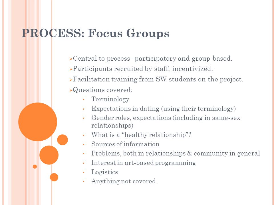 PROCESS: Focus Groups Central to process--participatory and group-based. Participants recruited by staff, incentivized. Facilitation training from SW