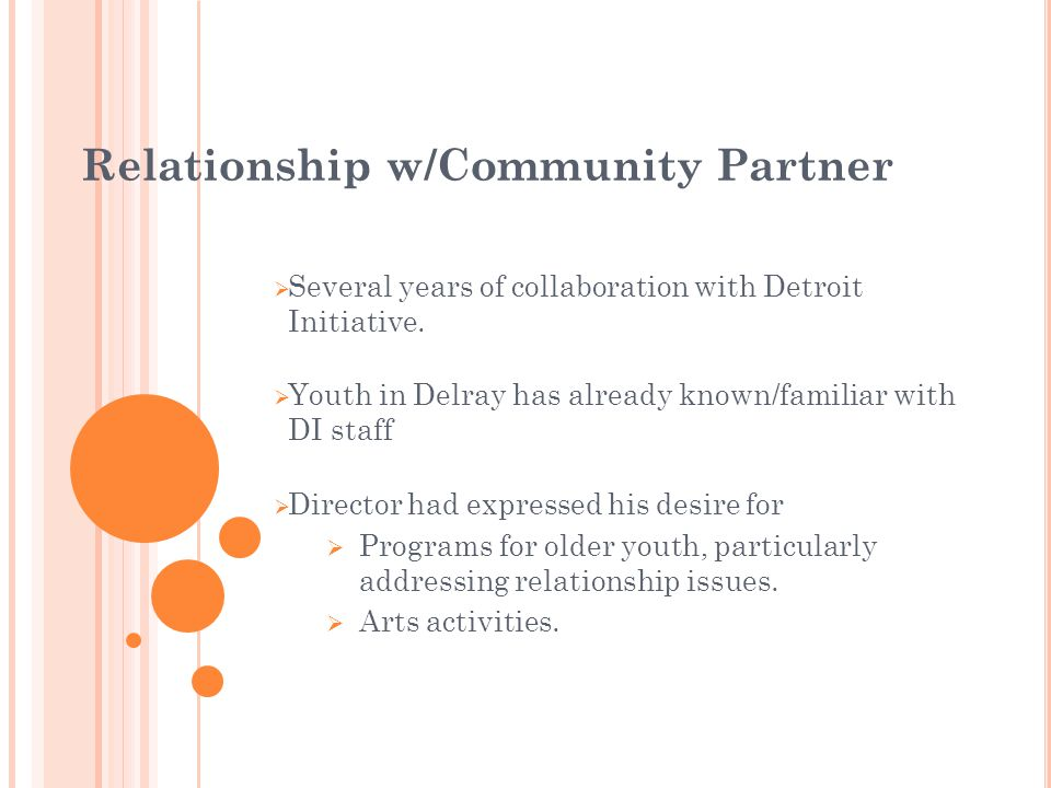 Relationship w/Community Partner Several years of collaboration with Detroit Initiative. Youth in Delray has already known/familiar with DI staff Dire