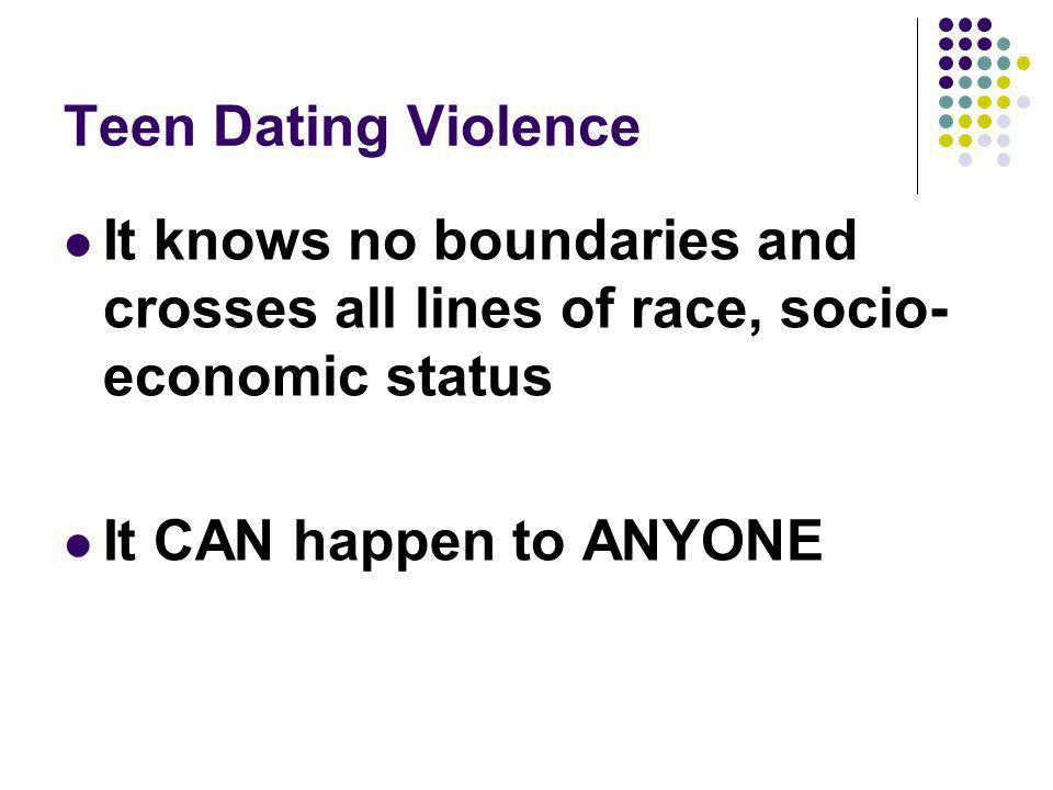 Effects of Dating Violence on the Victim Loss of appetite, eating disorders Weight loss Gastrointestinal disorders Headaches Nervous, anxious Bruises, broken bones Self blame Confusion Guilt Shame Mistrust of self and others