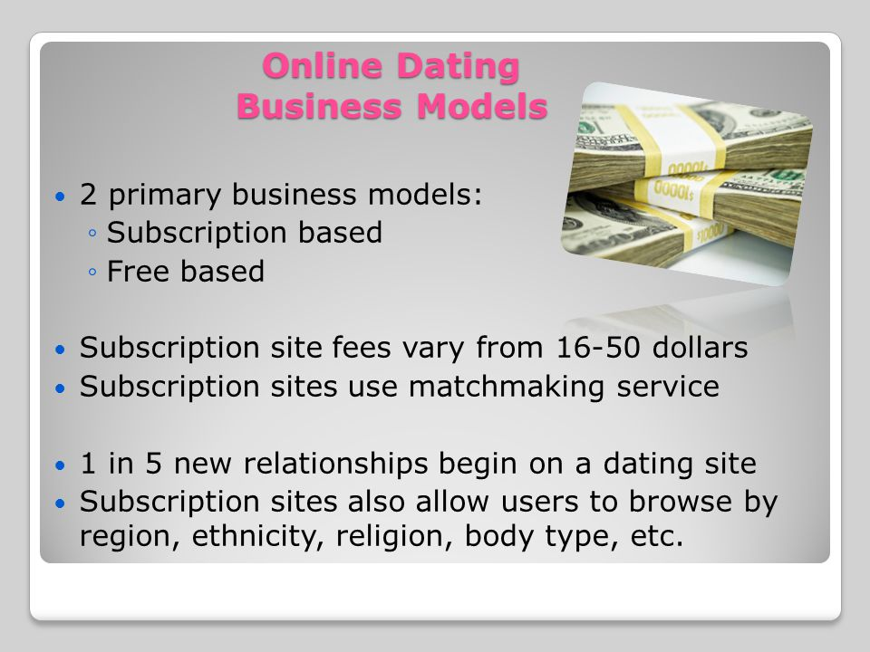 Online Dating Business Models 2 primary business models: Subscription based Free based Subscription site fees vary from 16-50 dollars Subscription sites use matchmaking service 1 in 5 new relationships begin on a dating site Subscription sites also allow users to browse by region, ethnicity, religion, body type, etc.