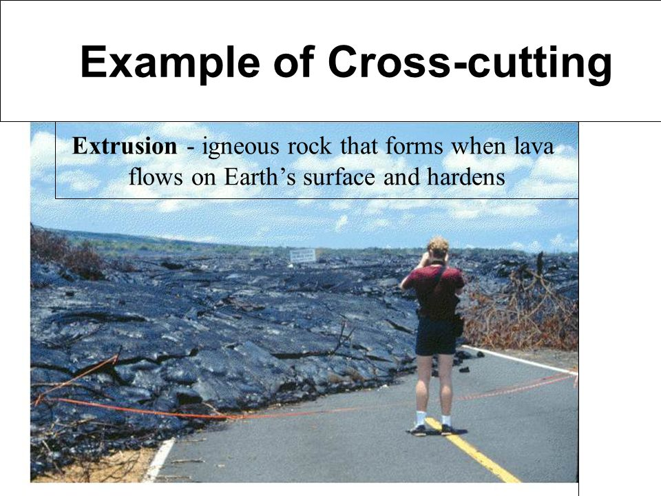 Examples of Cross-Cutting Example of Cross-cutting Extrusion - igneous rock that forms when lava flows on Earths surface and hardens