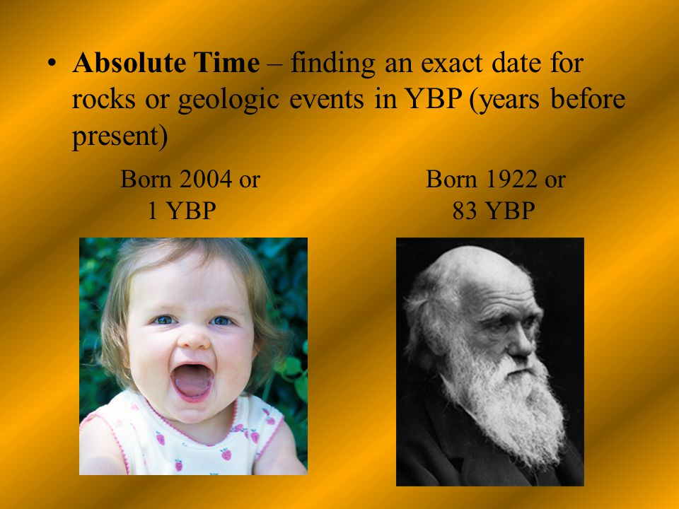 Absolute Time – finding an exact date for rocks or geologic events in YBP (years before present) Born 2004 or 1 YBP Born 1922 or 83 YBP