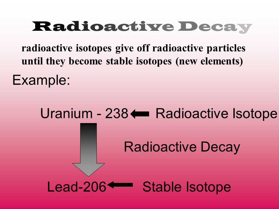 Radioactive Decay radioactive isotopes give off radioactive particles until they become stable isotopes (new elements) Example: Uranium - 238 Radioact