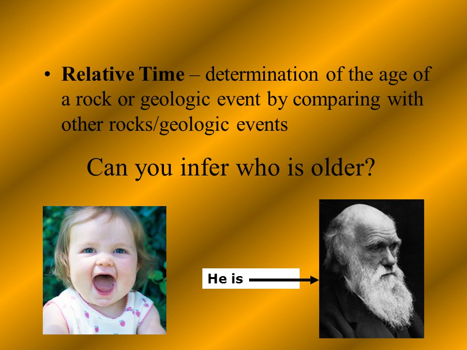 Relative Time – determination of the age of a rock or geologic event by comparing with other rocks/geologic events He is Can you infer who is older?