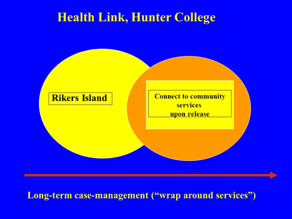 Health Link, Hunter College Long-term case-management (wrap around services) Rikers Island Connect to community services upon release