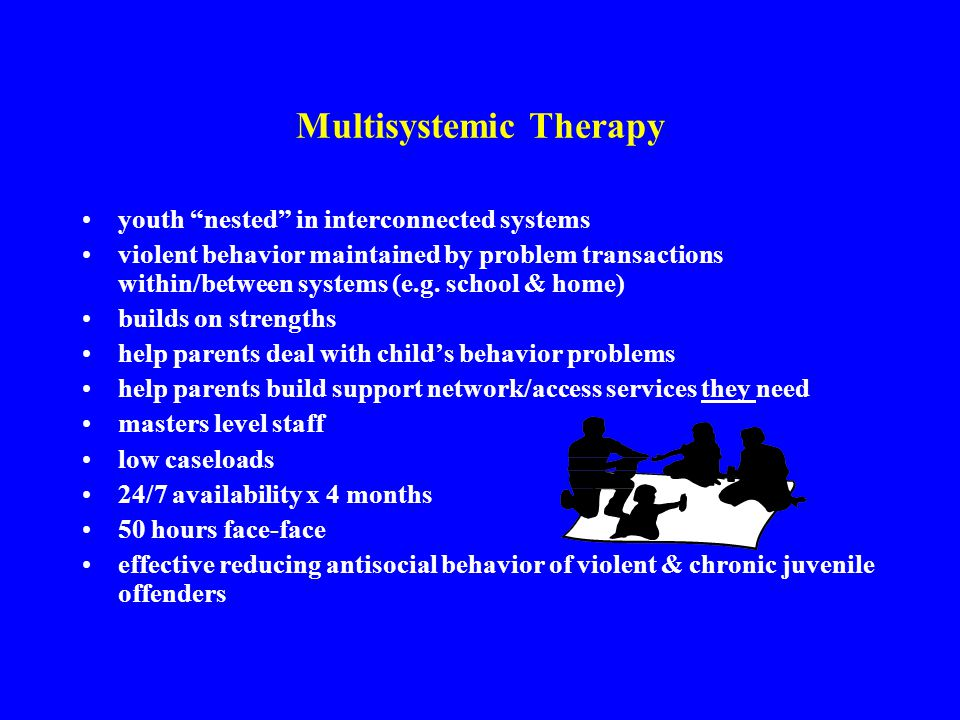 Multisystemic Therapy youth nested in interconnected systems violent behavior maintained by problem transactions within/between systems (e.g.