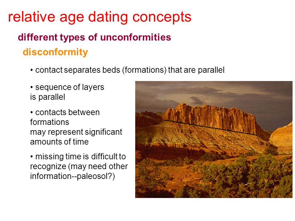 relative age dating concepts different types of unconformities disconformity contact separates beds (formations) that are parallel sequence of layers
