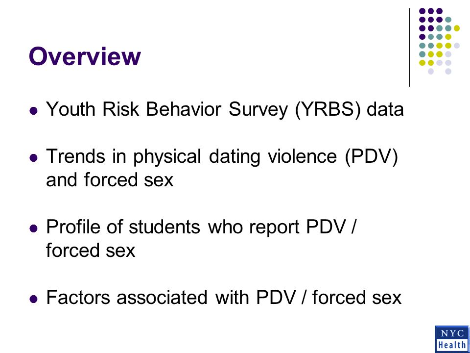Youth Risk Behavior Survey (YRBS) Survey to monitor the risk behaviors that contribute to morbidity, mortality, and social problems among youth