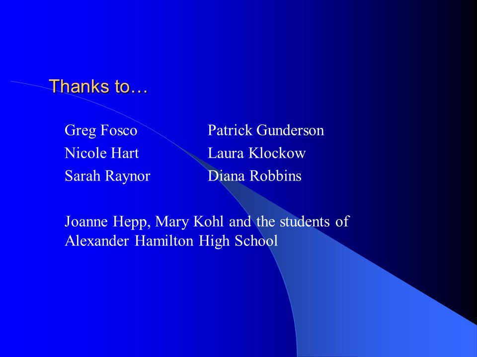 Thanks to… Greg FoscoPatrick Gunderson Nicole HartLaura Klockow Sarah RaynorDiana Robbins Joanne Hepp, Mary Kohl and the students of Alexander Hamilton High School