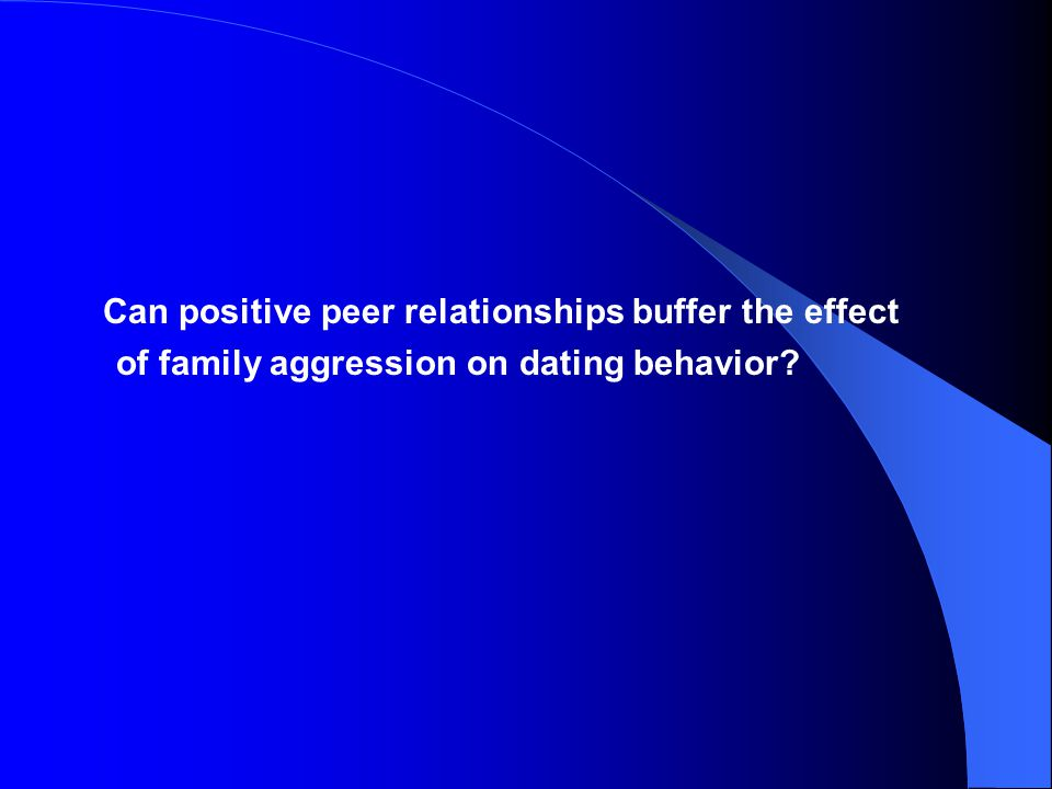 Can positive peer relationships buffer the effect of family aggression on dating behavior