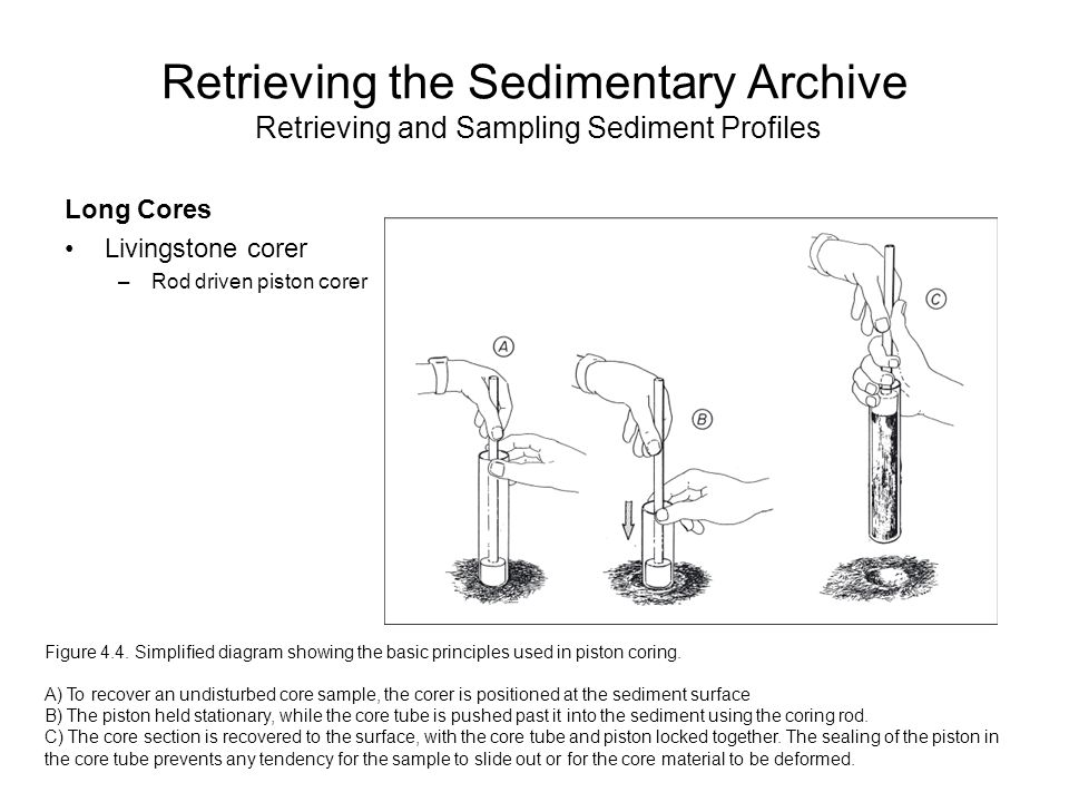 Retrieving the Sedimentary Archive Retrieving and Sampling Sediment Profiles Long Cores Livingstone corer –Rod driven piston corer Figure 4.4.