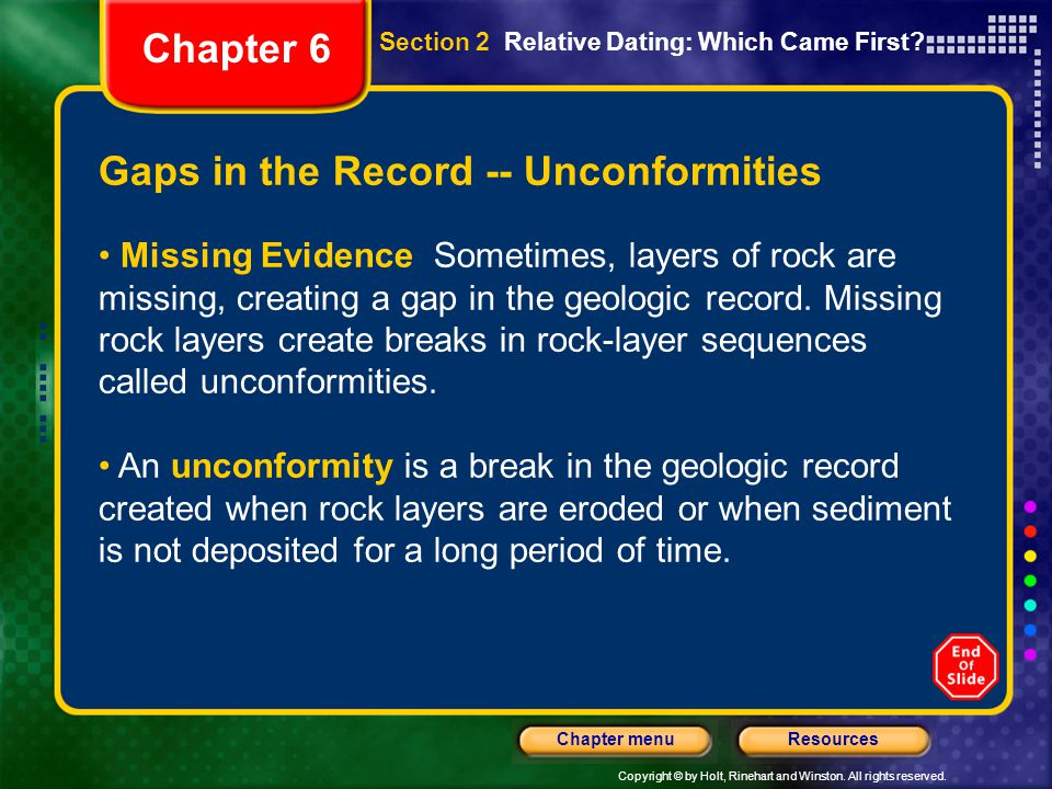 Copyright © by Holt, Rinehart and Winston. All rights reserved. ResourcesChapter menu Gaps in the Record -- Unconformities Missing Evidence Sometimes,