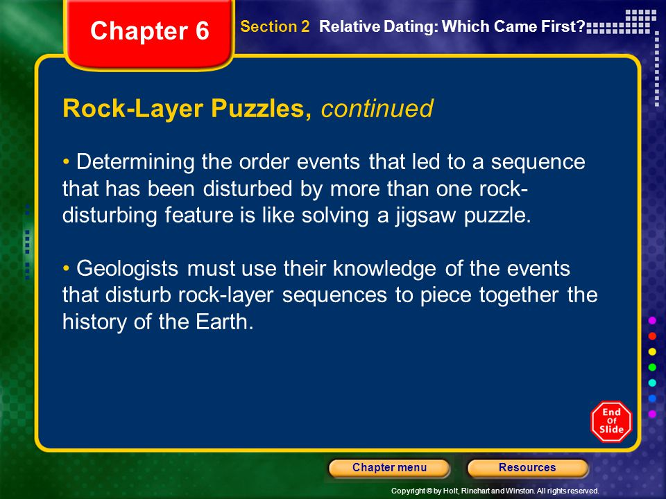 Copyright © by Holt, Rinehart and Winston. All rights reserved. ResourcesChapter menu Rock-Layer Puzzles, continued Determining the order events that