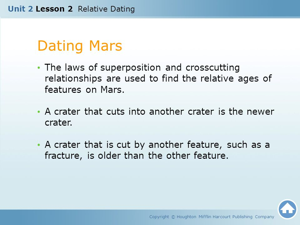 Dating Mars Copyright © Houghton Mifflin Harcourt Publishing Company The laws of superposition and crosscutting relationships are used to find the rel