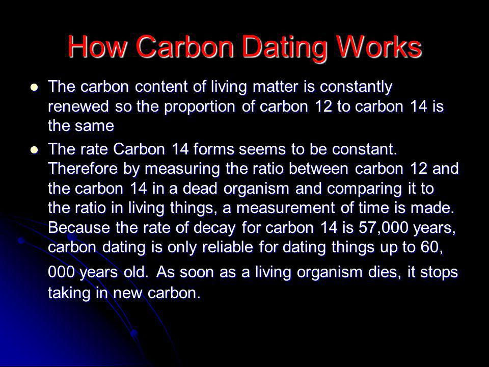 How Carbon Dating Works The carbon content of living matter is constantly renewed so the proportion of carbon 12 to carbon 14 is the same The carbon content of living matter is constantly renewed so the proportion of carbon 12 to carbon 14 is the same The rate Carbon 14 forms seems to be constant.