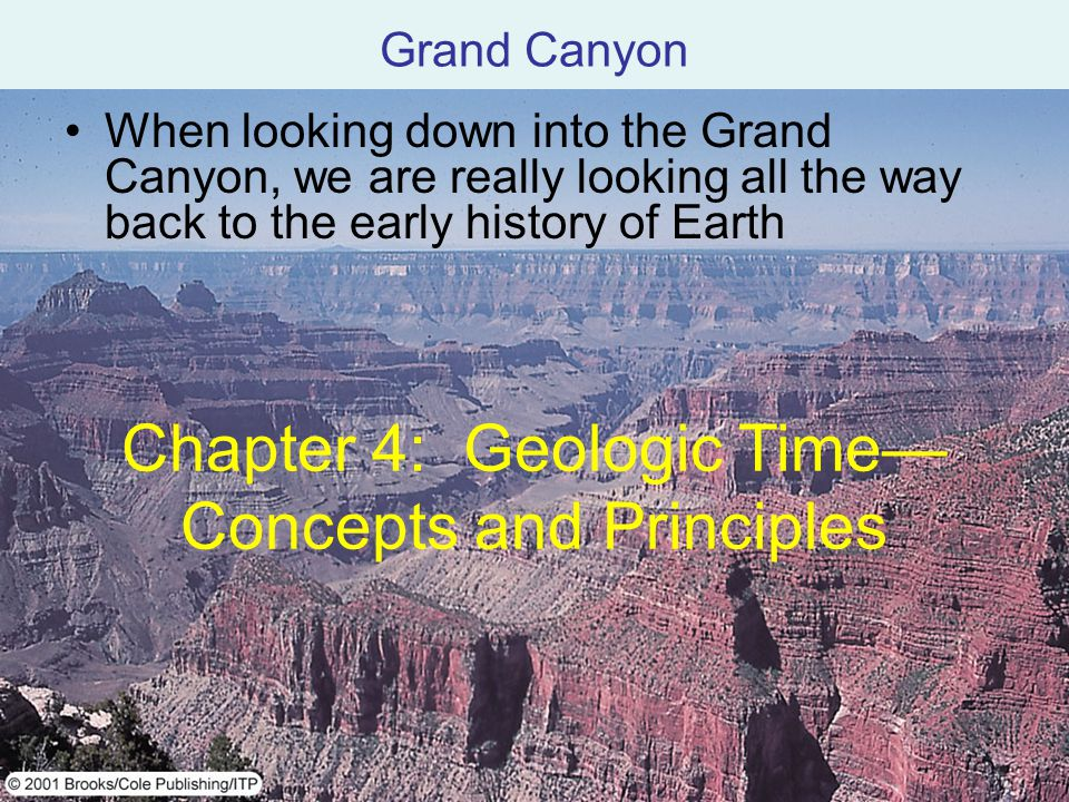 When looking down into the Grand Canyon, we are really looking all the way back to the early history of Earth Grand Canyon Chapter 4: Geologic Time Co