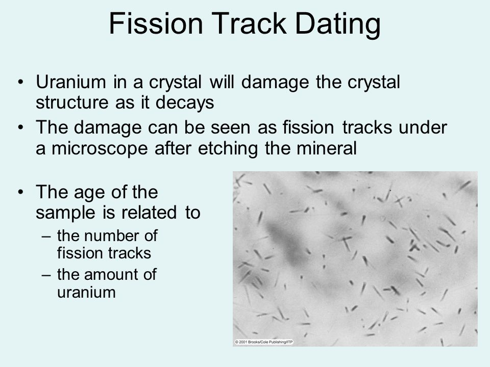 Uranium in a crystal will damage the crystal structure as it decays The damage can be seen as fission tracks under a microscope after etching the mine