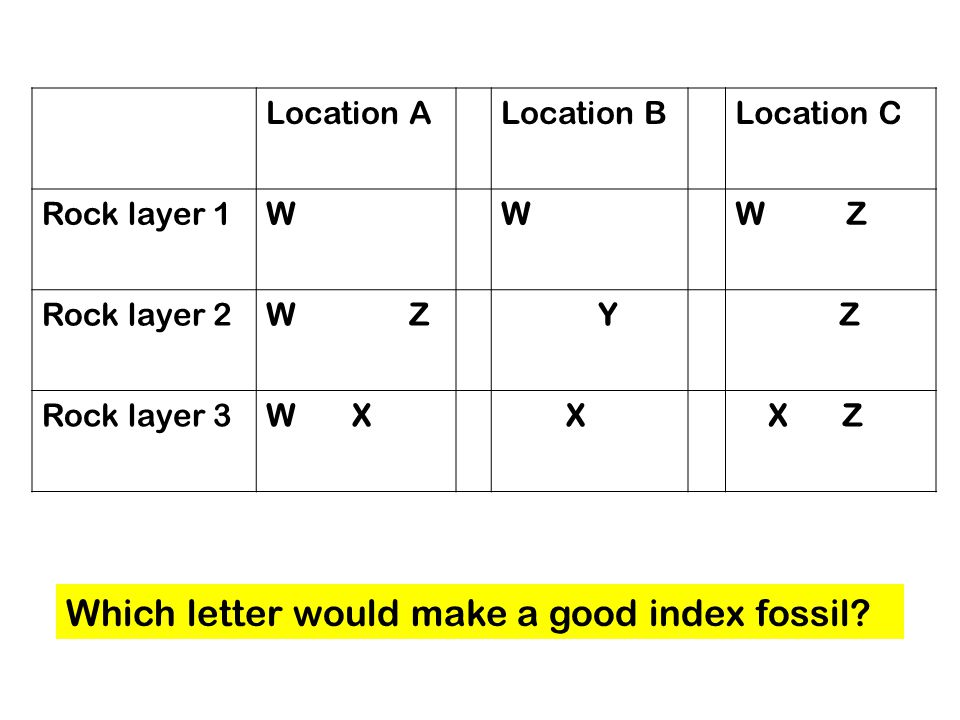 Location ALocation BLocation C Rock layer 1WWW Z Rock layer 2W Z Y Z Rock layer 3W X X X Z Which letter would make a good index fossil?