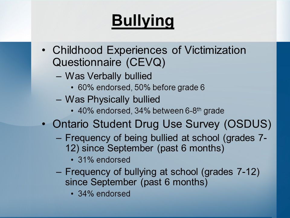 Bullying Childhood Experiences of Victimization Questionnaire (CEVQ) –Was Verbally bullied 60% endorsed, 50% before grade 6 –Was Physically bullied 40% endorsed, 34% between 6-8 th grade Ontario Student Drug Use Survey (OSDUS) –Frequency of being bullied at school (grades 7- 12) since September (past 6 months) 31% endorsed –Frequency of bullying at school (grades 7-12) since September (past 6 months) 34% endorsed