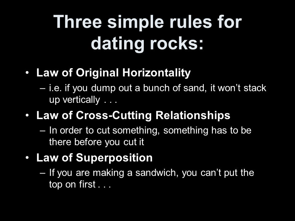 Three simple rules for dating rocks: Law of Original Horizontality –i.e.