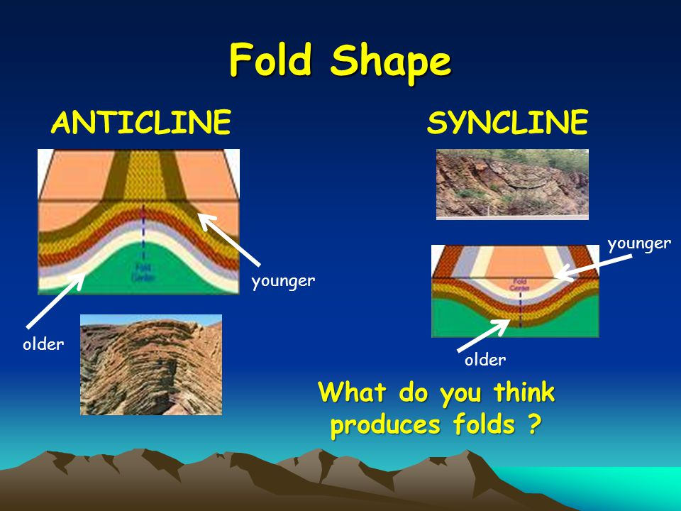 Fold Shape ANTICLINE younger older SYNCLINE younger older What do you think produces folds