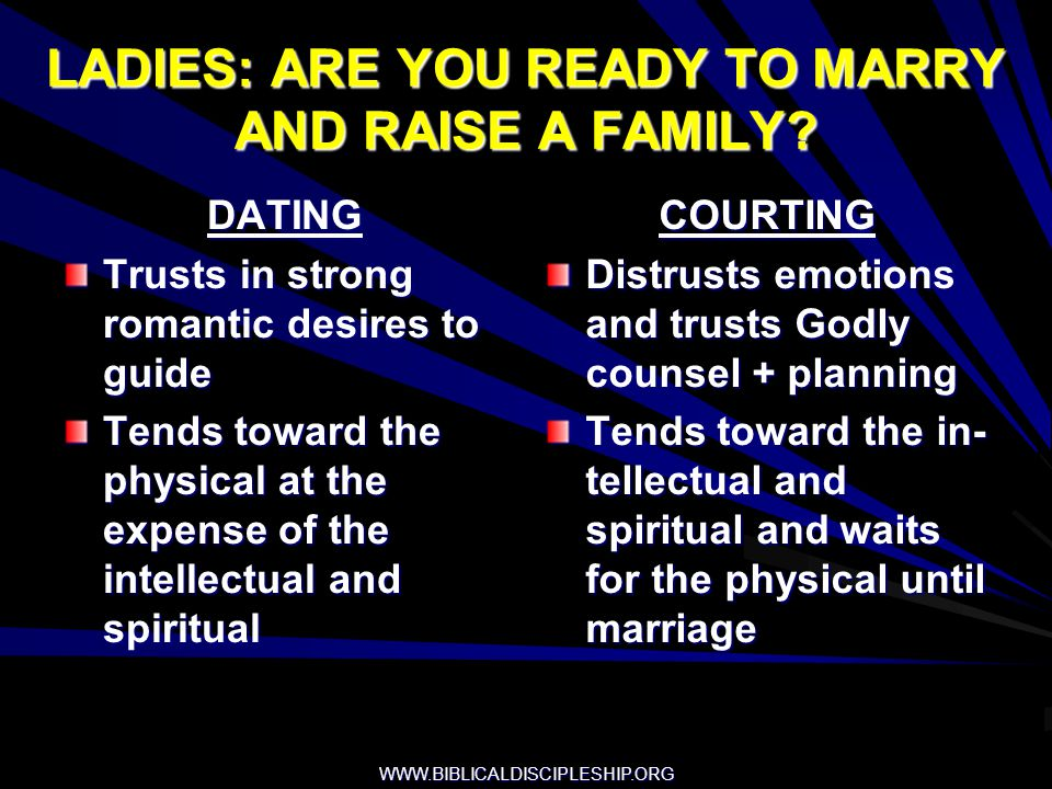 WWW.BIBLICALDISCIPLESHIP.ORG LADIES: ARE YOU READY TO MARRY AND RAISE A FAMILY? DATING Trusts in strong romantic desires to guide Tends toward the phy