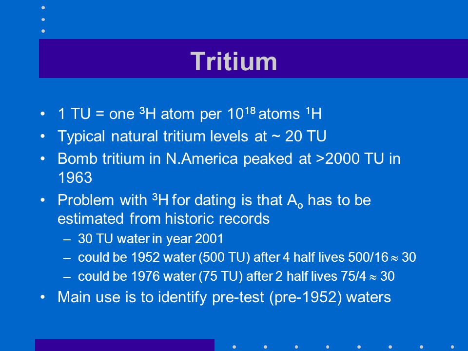 Tritium 1 TU = one 3 H atom per 10 18 atoms 1 H Typical natural tritium levels at ~ 20 TU Bomb tritium in N.America peaked at >2000 TU in 1963 Problem