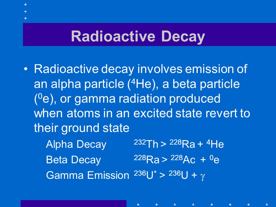 Radioactive Decay Radioactive decay involves emission of an alpha particle ( 4 He), a beta particle ( 0 e), or gamma radiation produced when atoms in