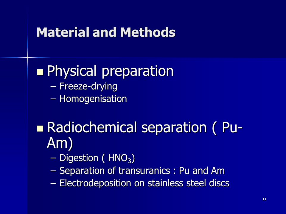11 Material and Methods Physical preparation Physical preparation –Freeze-drying –Homogenisation Radiochemical separation ( Pu- Am) Radiochemical separation ( Pu- Am) –Digestion ( HNO 3 ) –Separation of transuranics : Pu and Am –Electrodeposition on stainless steel discs