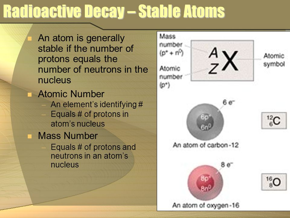 Radioactive Decay – Stable Atoms An atom is generally stable if the number of protons equals the number of neutrons in the nucleus Atomic Number – An