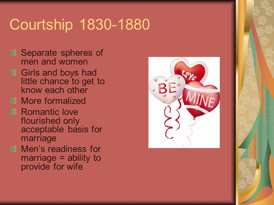 Courtship 1830-1880 Separate spheres of men and women Girls and boys had little chance to get to know each other More formalized Romantic love flouris
