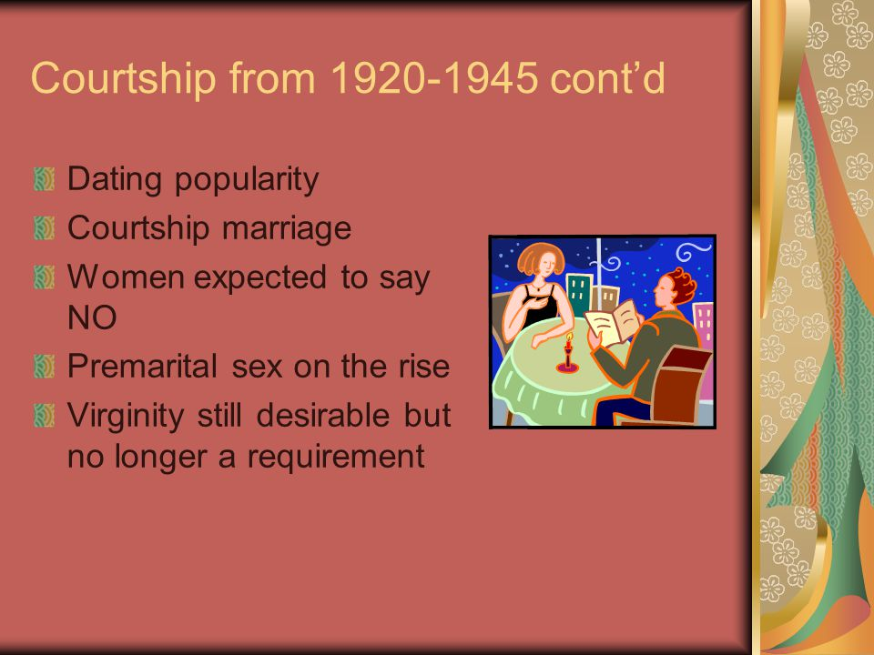 Courtship 1945-1960 Age of 1 st marriage dropped lowest in US history: 22 men 20 women Dating occurring earlier Going steady became popular Formula for marital bliss