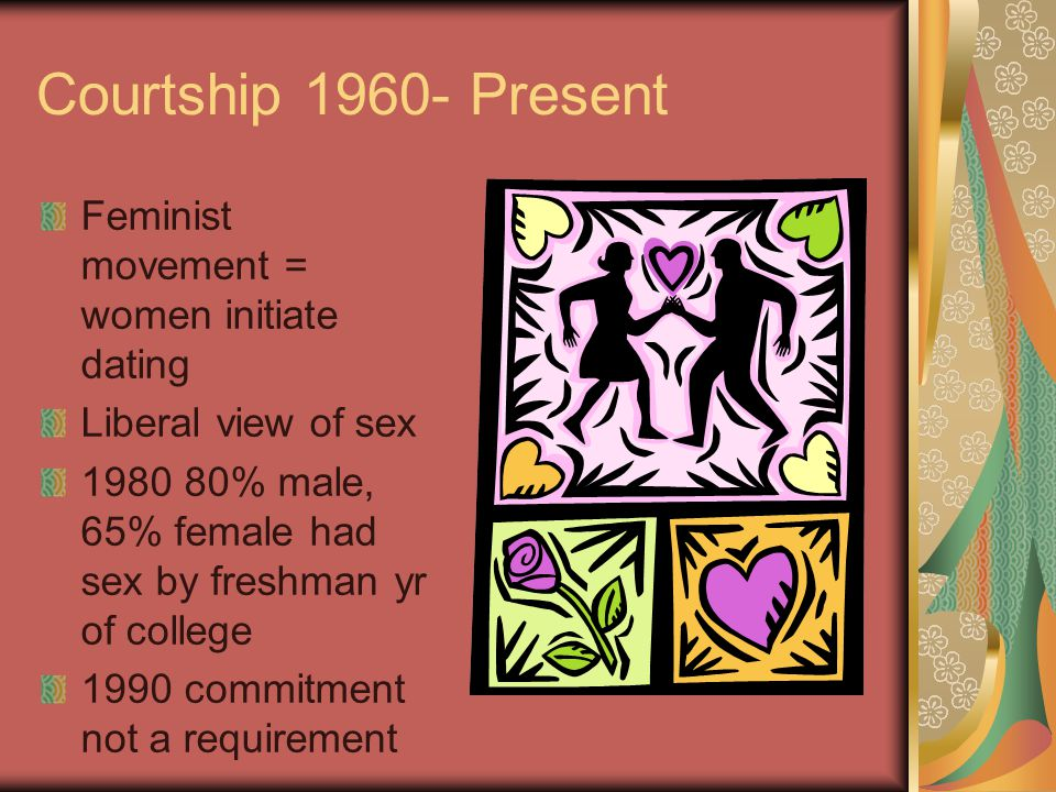 Courtship 1960- Present Feminist movement = women initiate dating Liberal view of sex 1980 80% male, 65% female had sex by freshman yr of college 1990