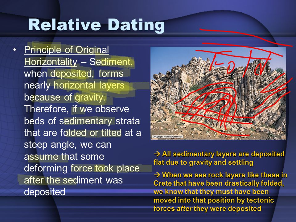 Relative Dating Principle of Original Horizontality – Sediment, when deposited, forms nearly horizontal layers because of gravity. Therefore, if we ob