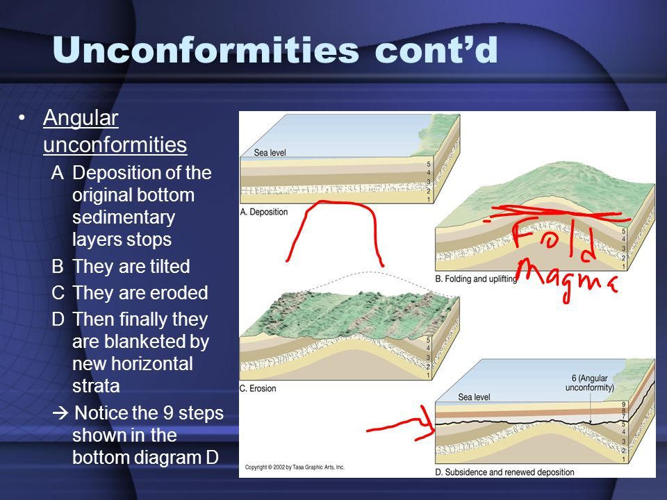 Unconformities contd Angular unconformities ADeposition of the original bottom sedimentary layers stops BThey are tilted CThey are eroded DThen finall