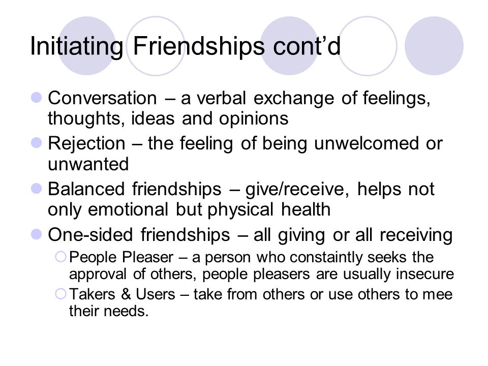 Initiating Friendships contd Conversation – a verbal exchange of feelings, thoughts, ideas and opinions Rejection – the feeling of being unwelcomed or