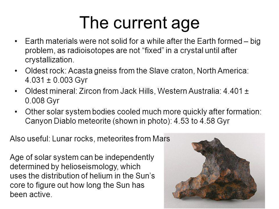 The current age Earth materials were not solid for a while after the Earth formed – big problem, as radioisotopes are not fixed in a crystal until aft