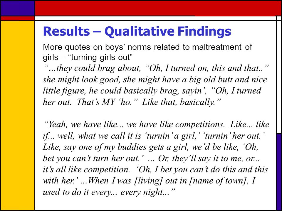 Results – Qualitative Findings More quotes on boys norms related to maltreatment of girls – turning girls out …they could brag about, Oh, I turned on,