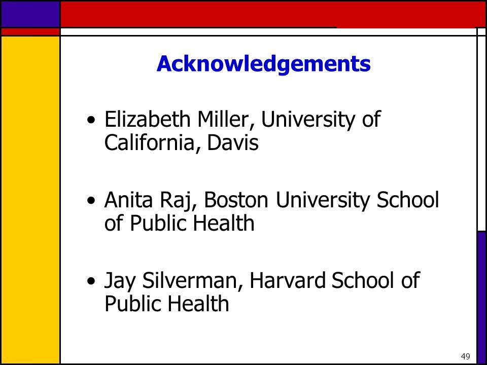 49 Acknowledgements Elizabeth Miller, University of California, Davis Anita Raj, Boston University School of Public Health Jay Silverman, Harvard Scho