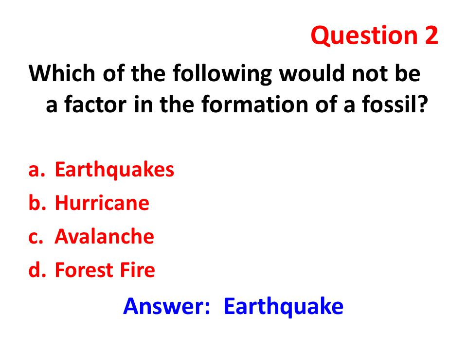 Question 2 Which of the following would not be a factor in the formation of a fossil? a.Earthquakes b.Hurricane c.Avalanche d.Forest Fire Answer: Eart
