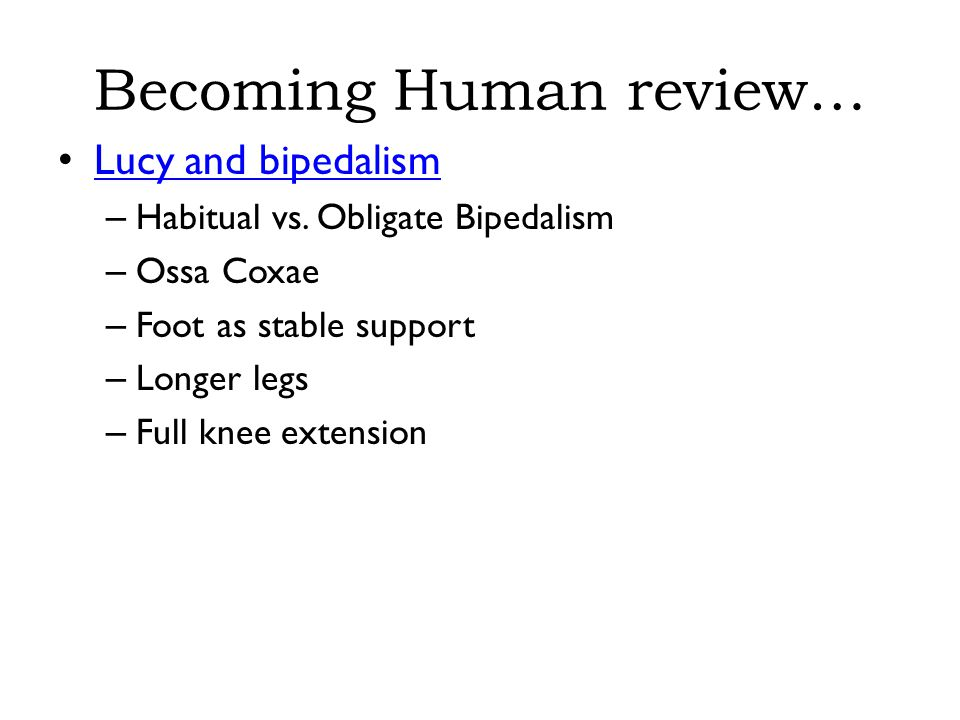 Becoming Human review… Lucy and bipedalism – Habitual vs.
