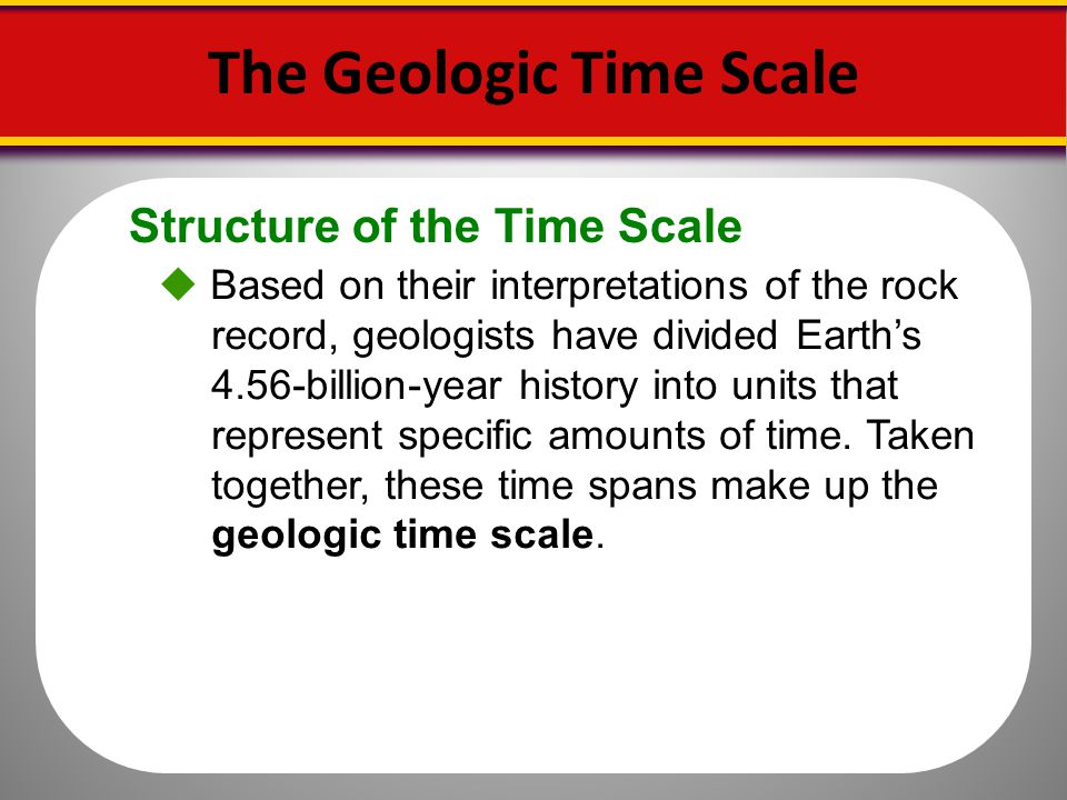 Structure of the Time Scale The Geologic Time Scale Based on their interpretations of the rock record, geologists have divided Earths 4.56-billion-yea