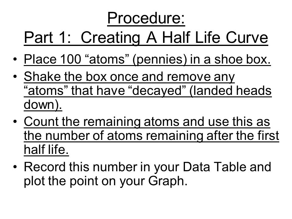 Procedure: Part 1: Creating A Half Life Curve Place 100 atoms (pennies) in a shoe box.