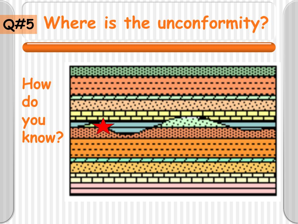 Where is the unconformity? Q#5 How do you know?