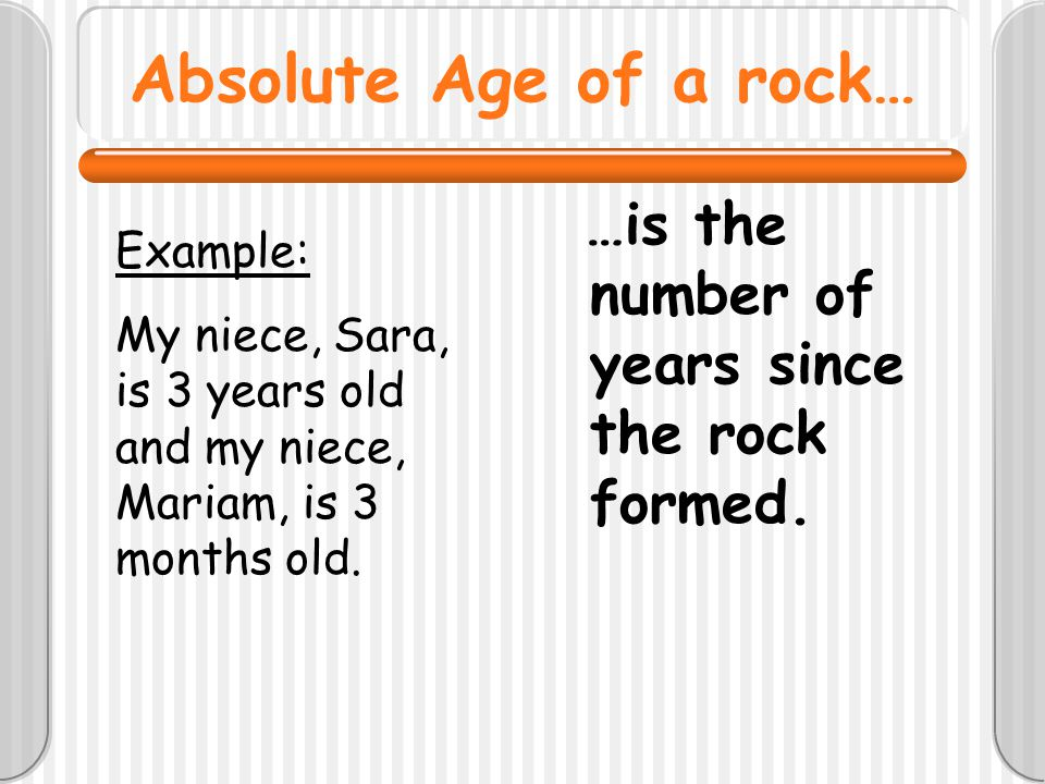Absolute Age of a rock… …is the number of years since the rock formed. Example: My niece, Sara, is 3 years old and my niece, Mariam, is 3 months old.