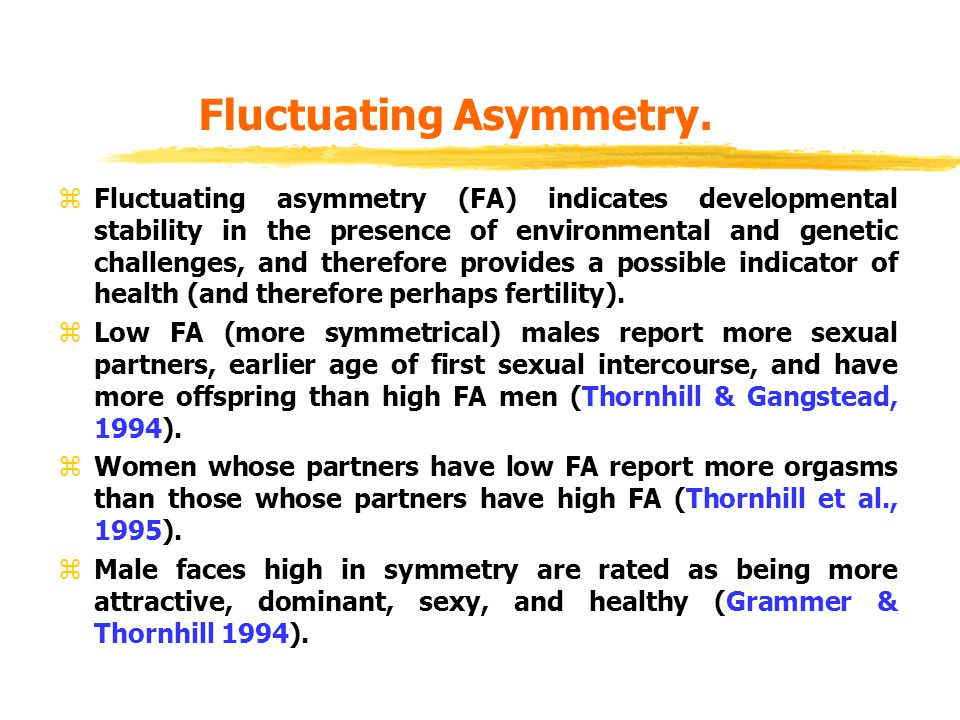 Fluctuating Asymmetry. Fluctuating asymmetry (FA) indicates developmental stability in the presence of environmental and genetic challenges, and there